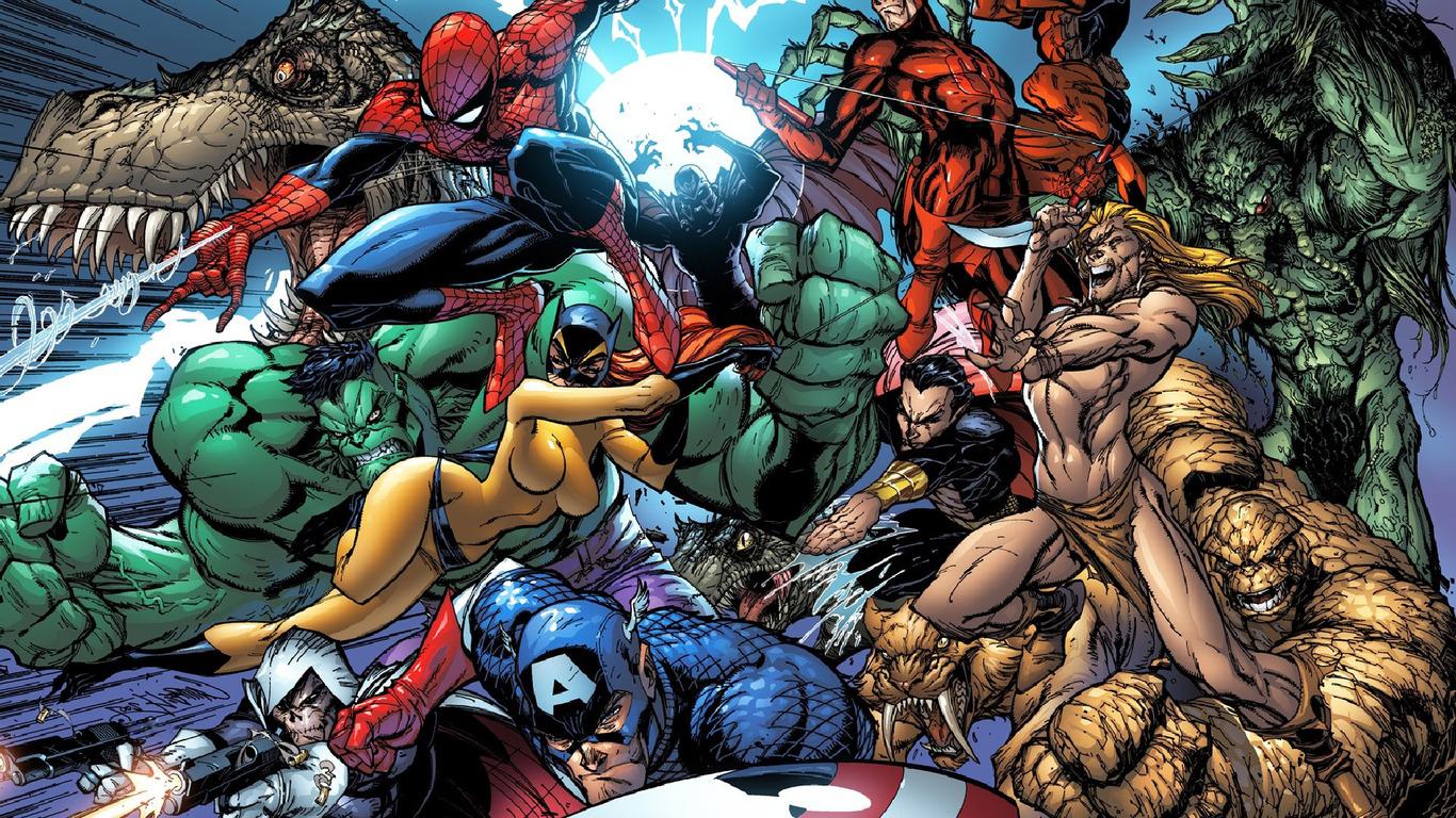 Marvel superheroes wallpaper 4879 1366x768