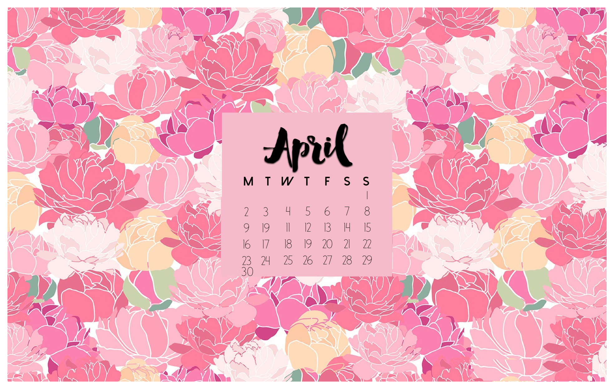 Wallpaper with April 2018 Calendar for PC iPad and SmartPhone 1974x1251