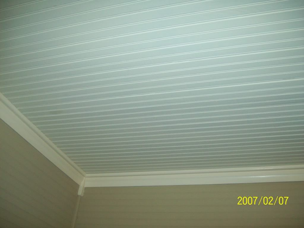 Beadboard Wallpaper On Ceiling