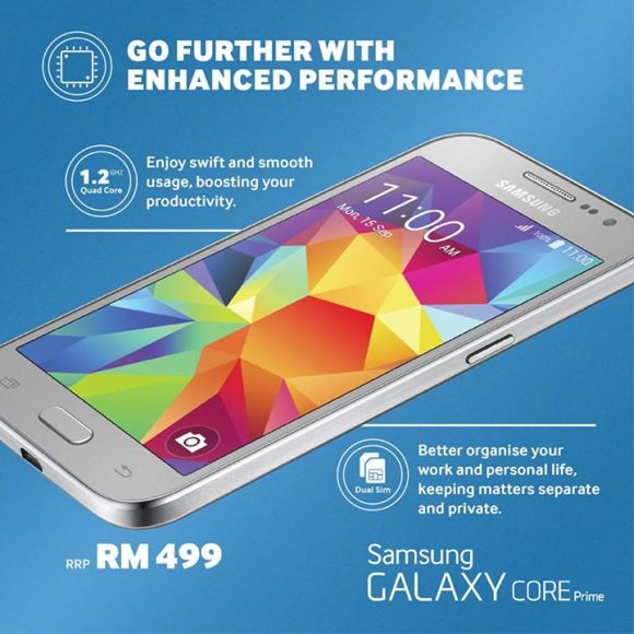 ... of its Galaxy Core Prime in Malaysia, which has a price tag of RM499