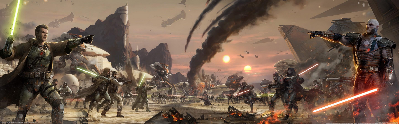 Star Wars The Old Republic sci fi futuristic lightsaber warriors 2880x900