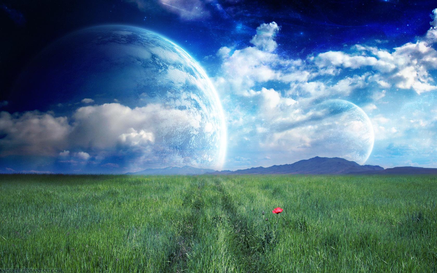 Fantasy grassland landscape wallpaper Desktop Background