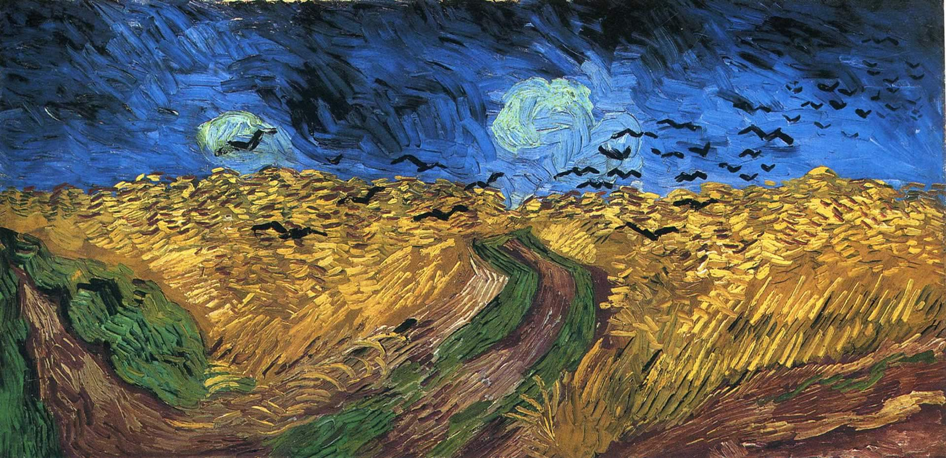 With Crows   Post Impressionist Vincent Van Gogh Art Wallpaper Picture 1920x931