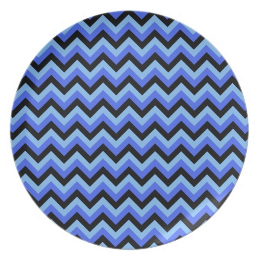 Blue and Black Zig zag Stripes Plates Zazzle 512x512