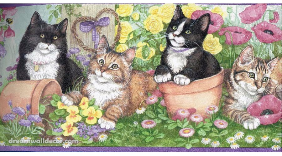 Home Purple Kittens And Flowers Wallpaper Border 900x500