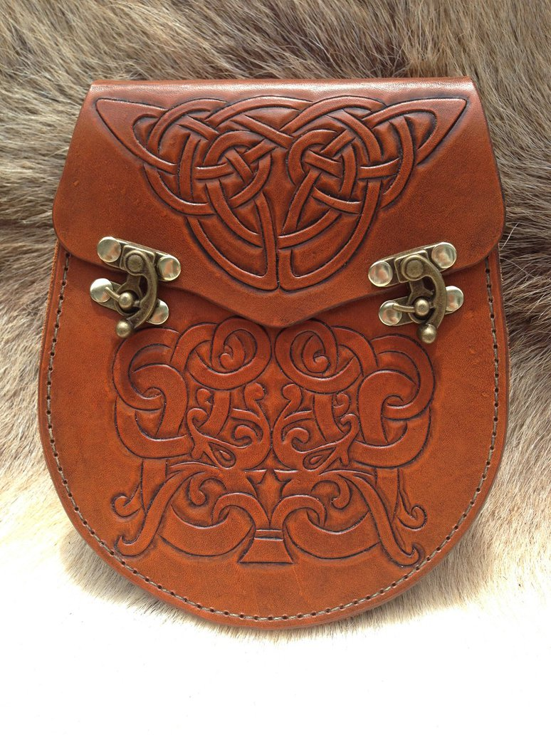 Hand Tooled Leather Sporran Celtic Knotwork Design by 774x1032