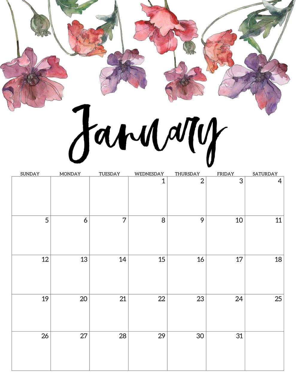 Cute January 2020 Calendar Wallpaper on We Heart It 989x1280