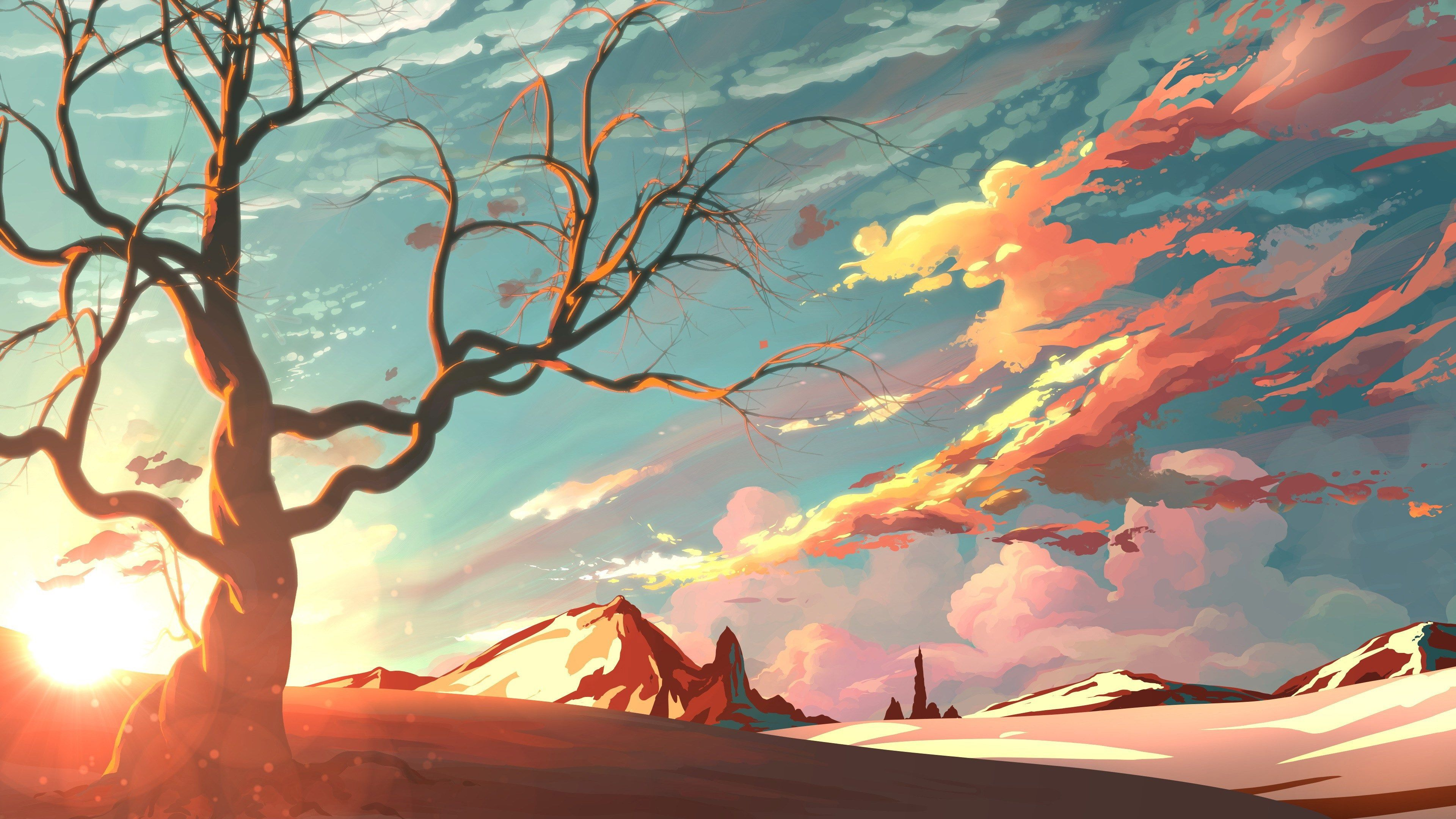 3840x2160 digital art 4k wallpaper high resolution Anime scenery 3840x2160