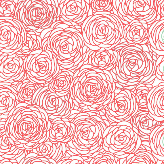Items similar to Removable Wallpaper   Blossom Print Coral on Etsy 570x570