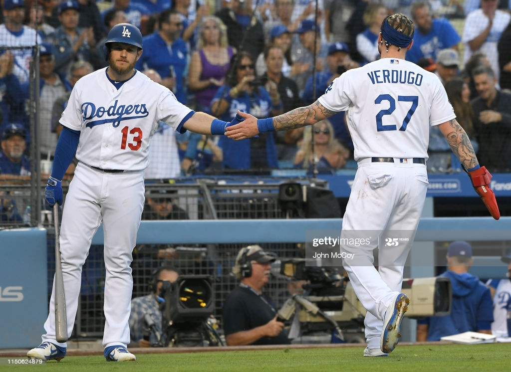 Max Muncy congratulates Alex Verdugo of the Los Angeles Dodgers 1024x746