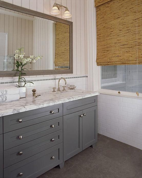 Beadboard Wallpaper Gray Cabinets Bathrooms Pinterest 554x693