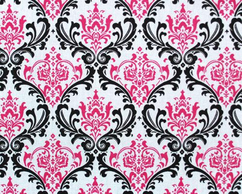 Premier Prints Black White Candy Pink Madison Damask 100 7oz cotton 500x400