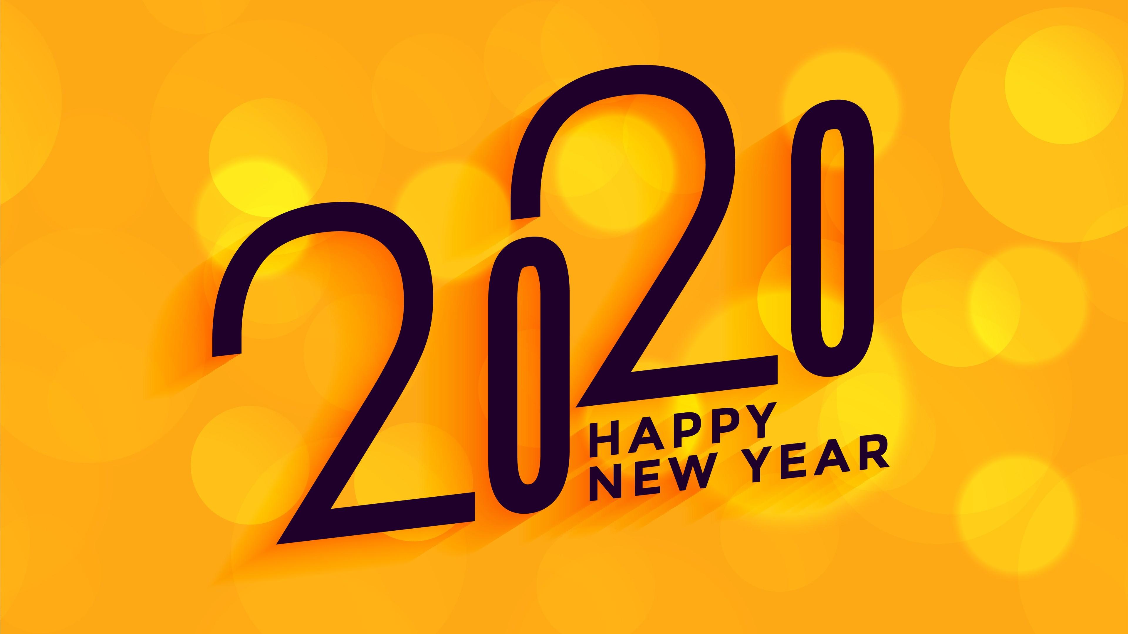 download 2020 Happy New Year Yellow 4K Wallpaper HD 3840x2160