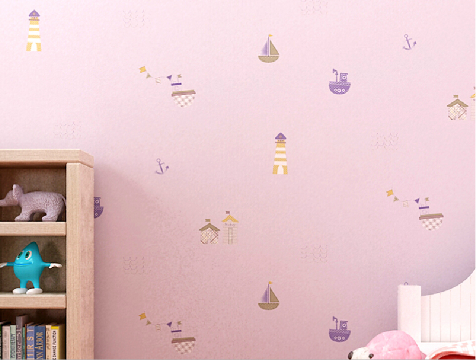 Non woven pink wallpaper cartoon for girl room 949x718