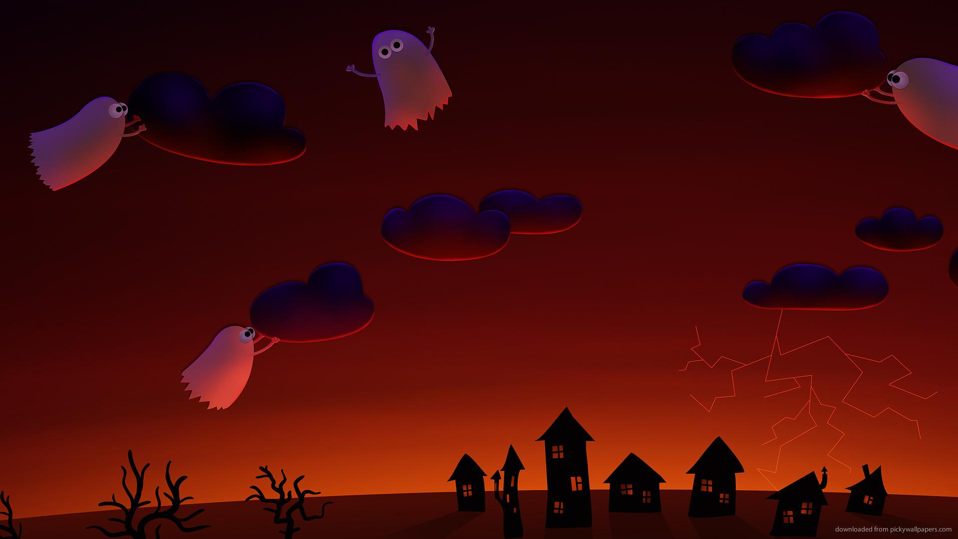 halloween ghosts village cute wallpapers wallpaper holidays 1920x1080