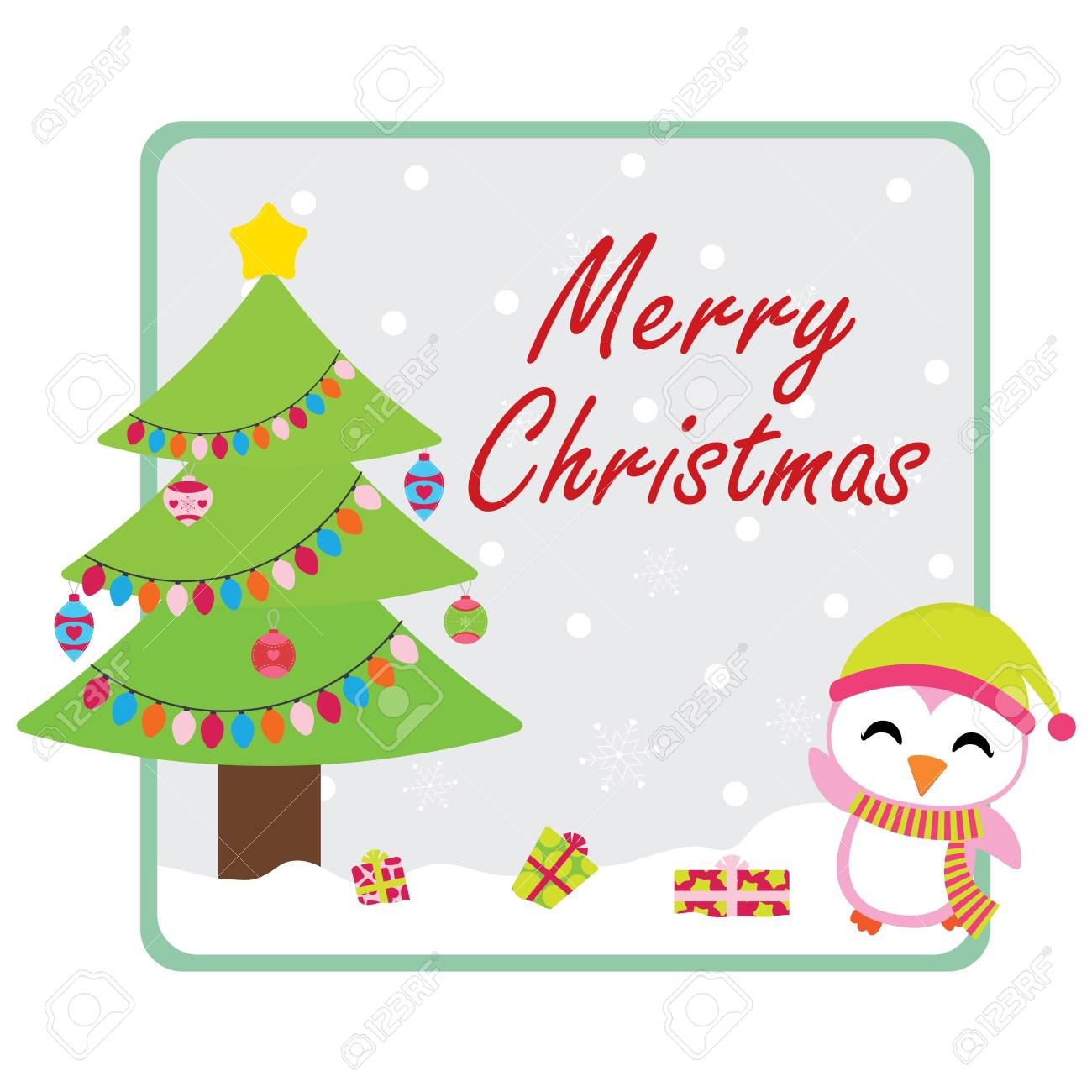 Cute Penguin Finds Xmas Gift Boxes Under Xmas Tree Vector Cartoon 1300x1300