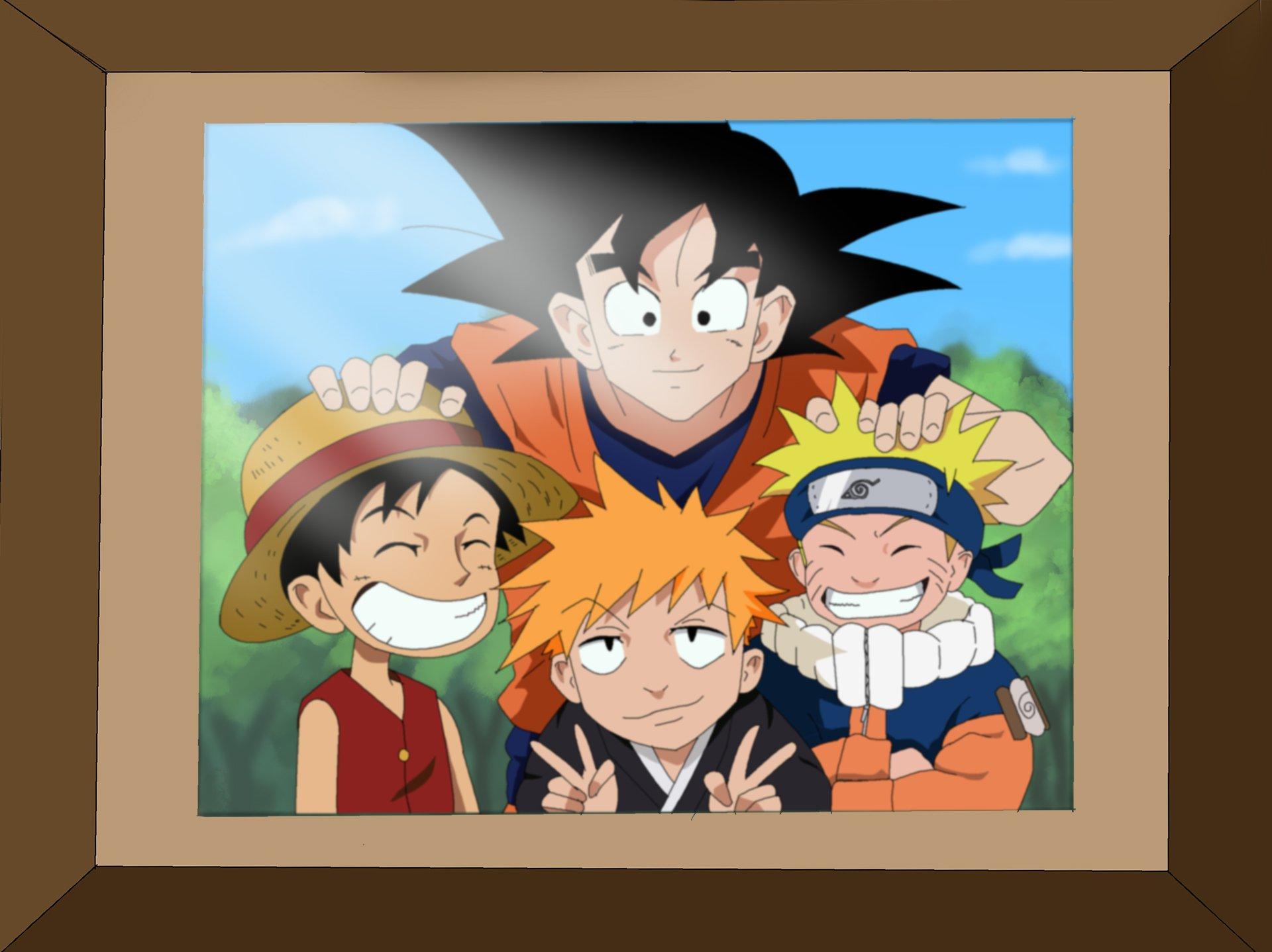 Naruto Goku Luffy and Ichigo Coloring by Nohealsfoyou 1920x1438