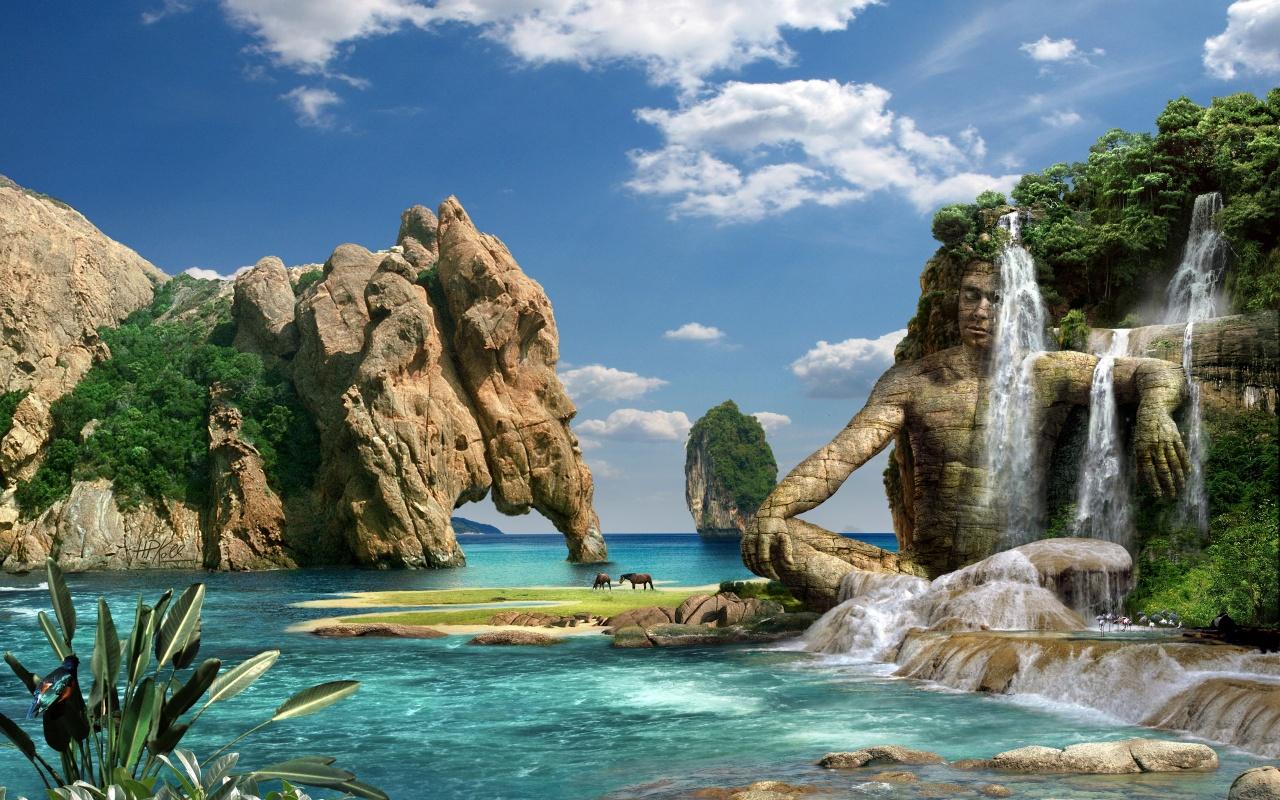 Waterfall 3D HD Wallpaperjpg 1280800 B I G ideas Pinterest 1280x800