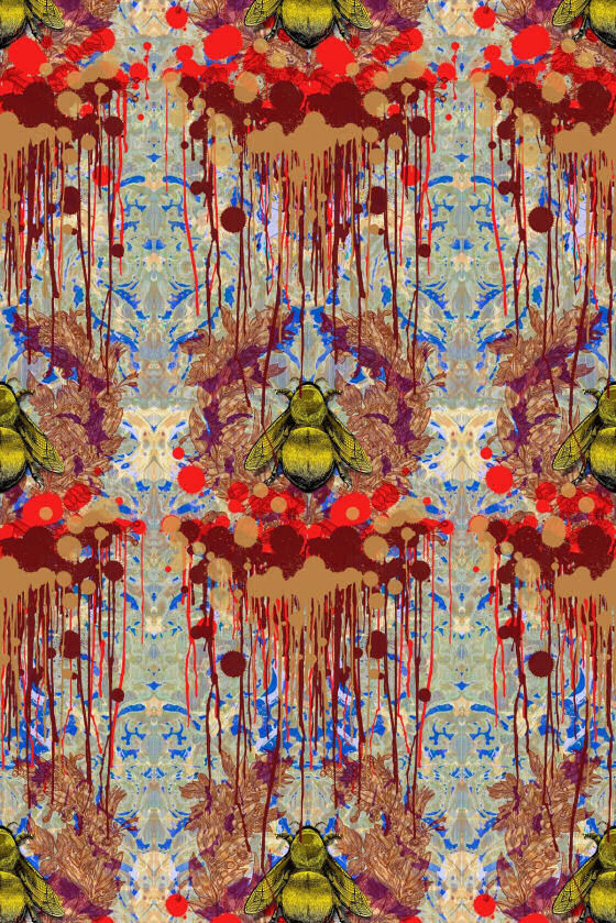 Timorous Beasties Wallpaper with bees on damask background and paint 560x839