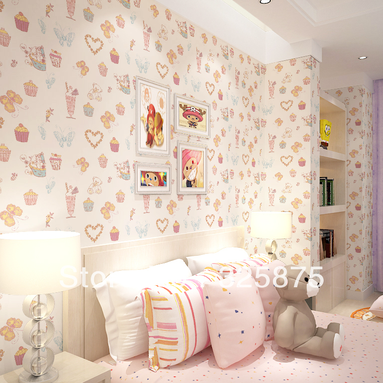 Ship Non Woven Childrens Bedroom Wallpaper Cute Pink Baby 768x768
