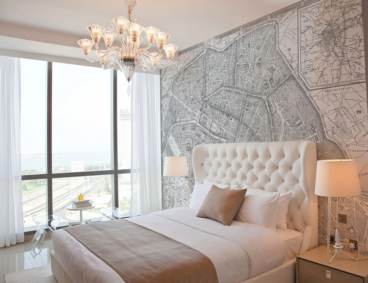 Vintage French Map Mural   Contemporary   bedroom 740x568