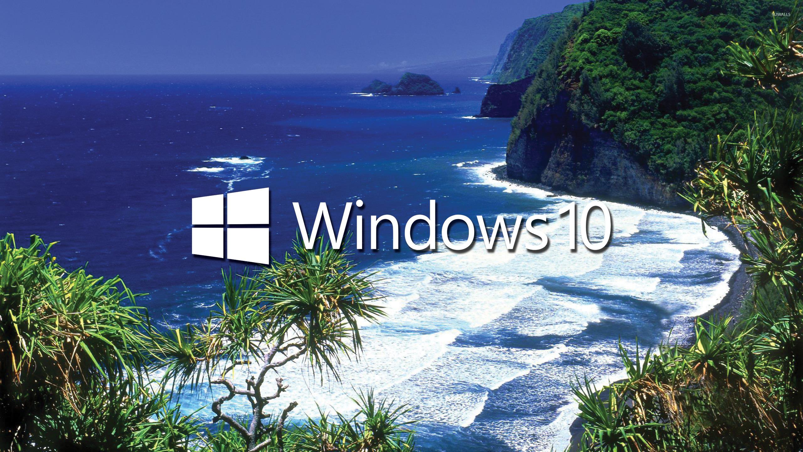 Windows 10 white text logo on the tropical shore wallpaper 2560x1440 2560x1440