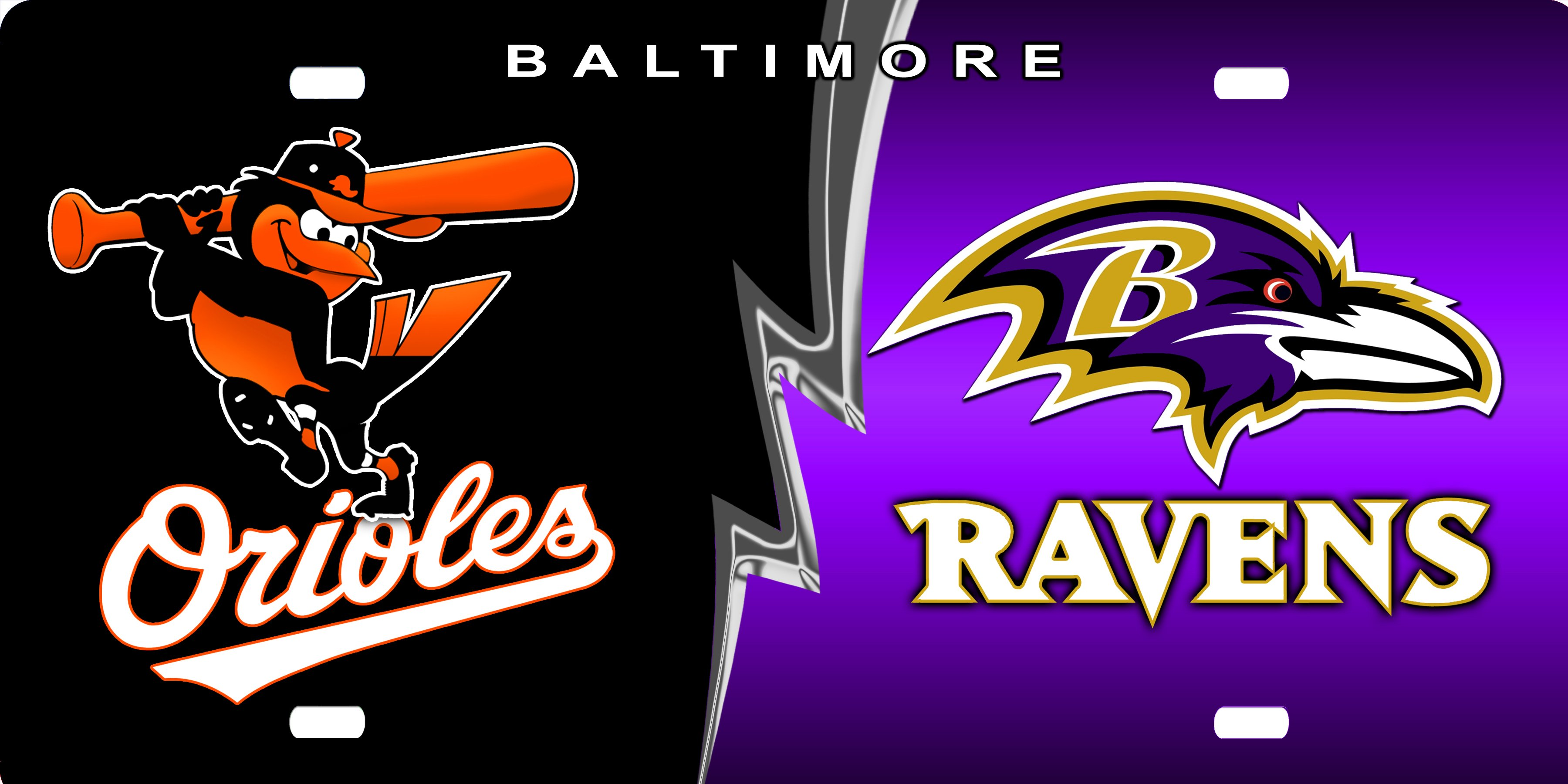 Orioles and Ravens License Plate License Plate Orioles and Ravens 3600x1800