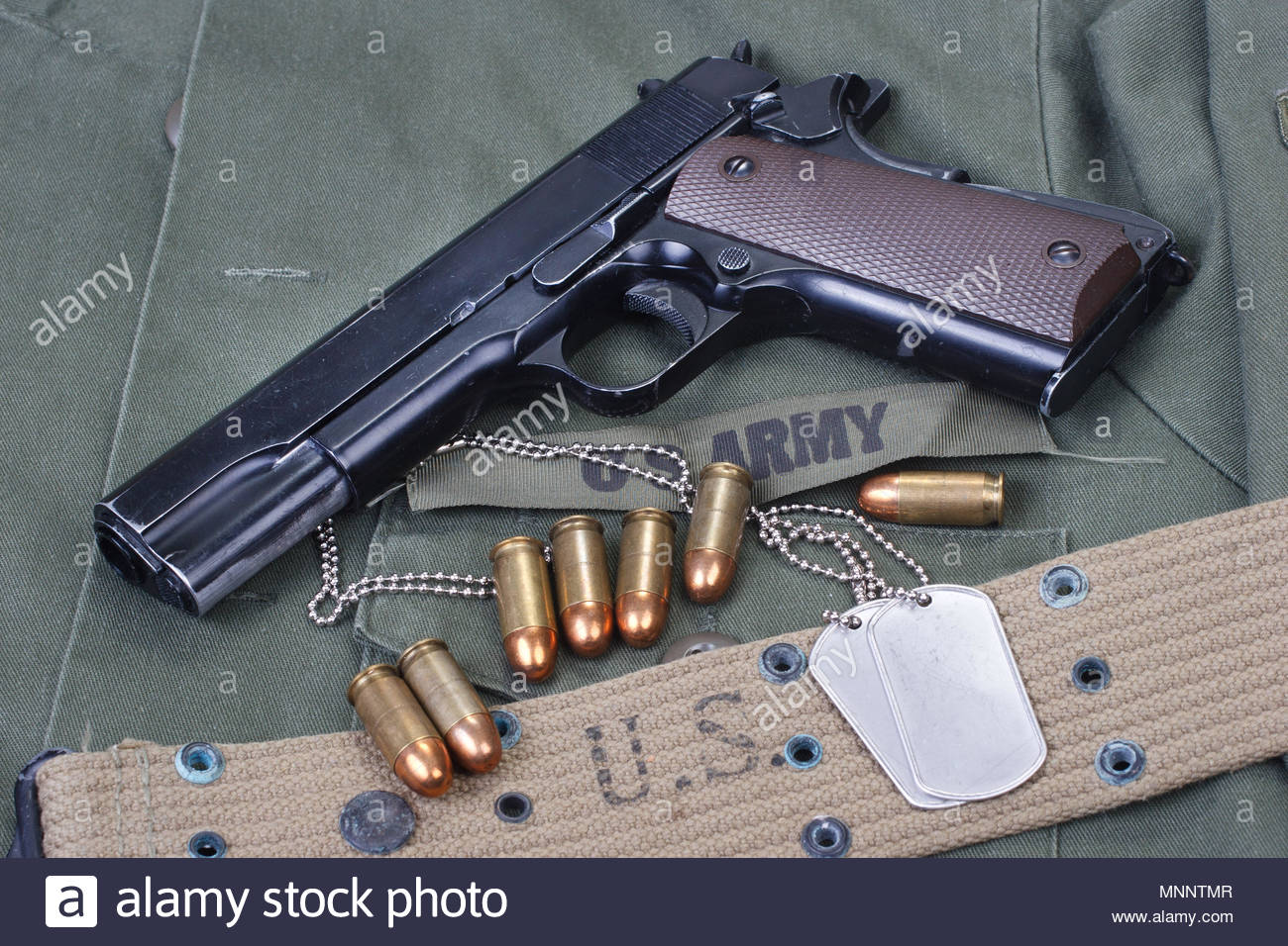 colt government M1911 with US ARMY uniform texture background 1300x956