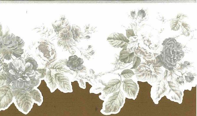 Wallpaper Border Rose Floral Silver White Textured Glaze Vintage Cuto 667x395