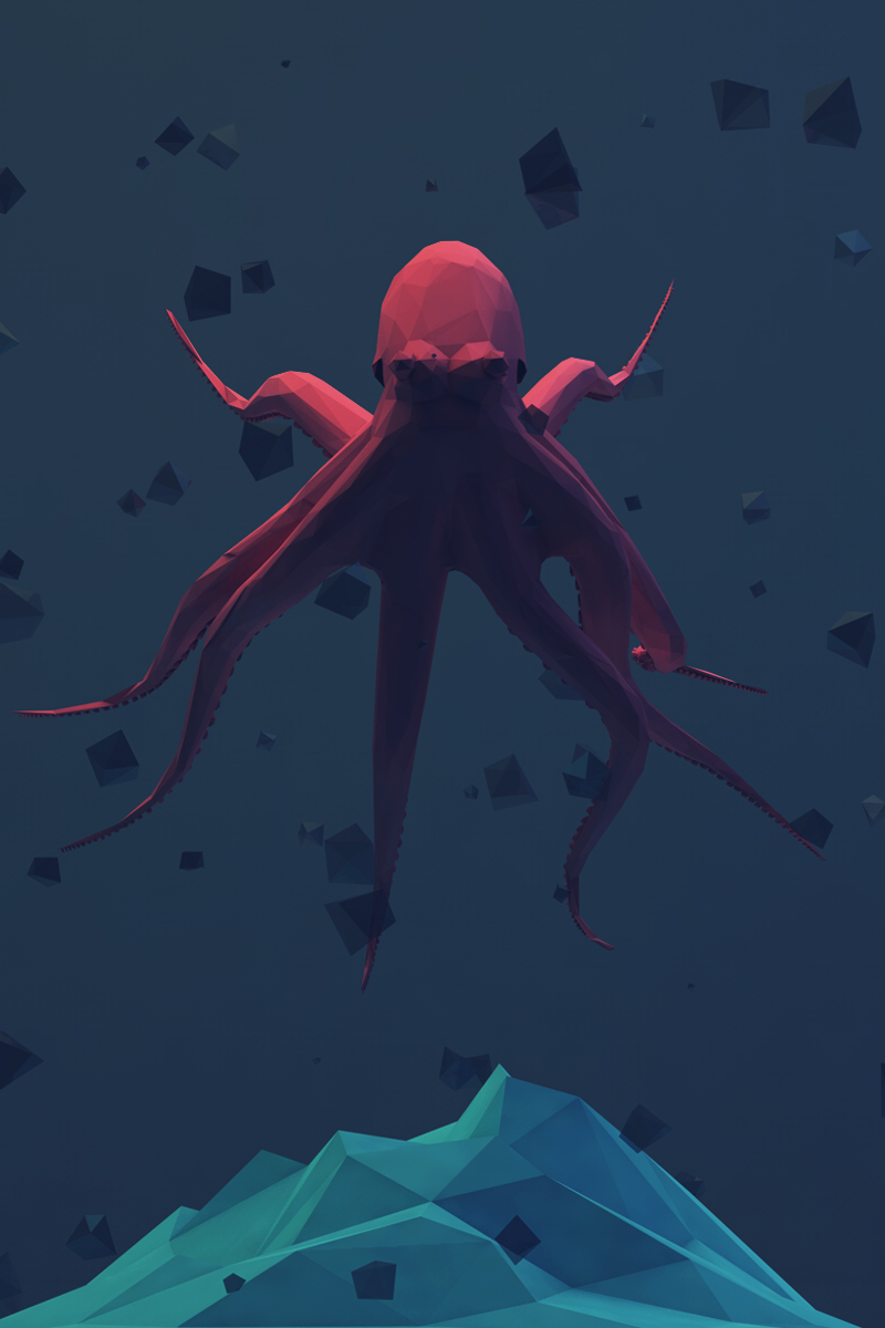 Octopus low poly art low polygon design lowpoly polygons 800x1200