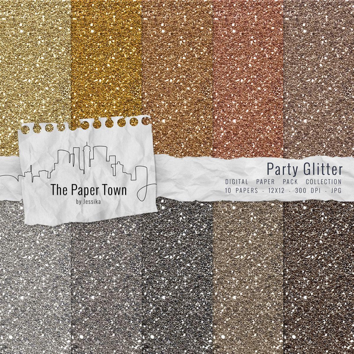 Gold and Silver Glitter Digital Paper Pack   10 Glitter Digital 1200x1200