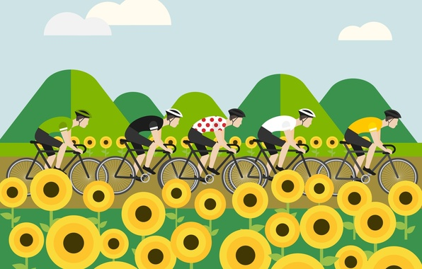 Wallpaper The peloton figure cyclists The tour de 596x380