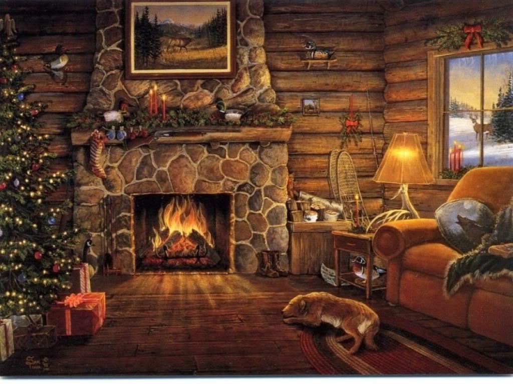 Christmas Desktop Wallpapers Christmas Fireplace 1024x768