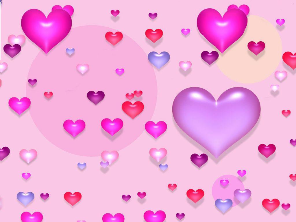 Cute Valentine Purple Hearts Wallpaper 1024x768 pixel Popular HD 1024x768