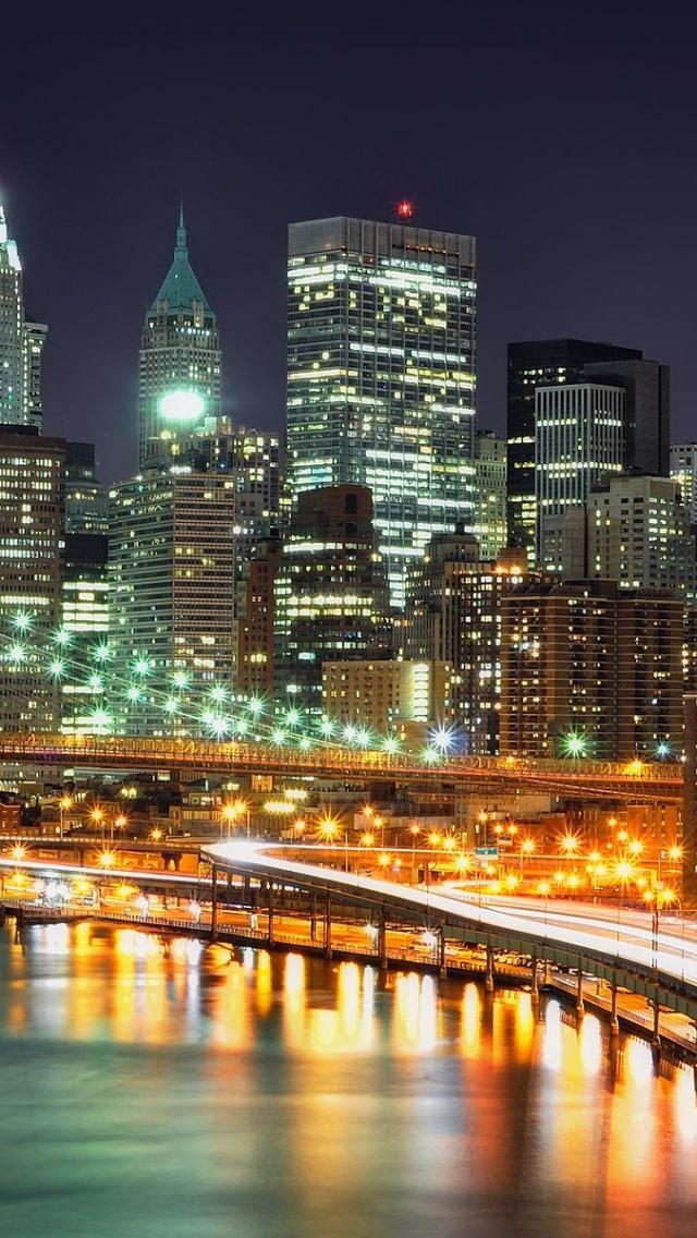 Download Wallpaper 640x1136 New york Brooklyn Bridge Night Lights 640x1136