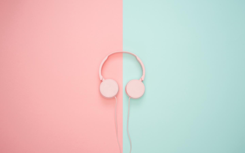 Download wallpaper 1440x900 headphones minimalism pink pastel 1440x900