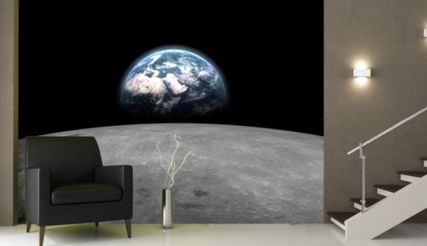 Amazing Bedroom Design Comes with the Moon Graphic Living Space 600x346