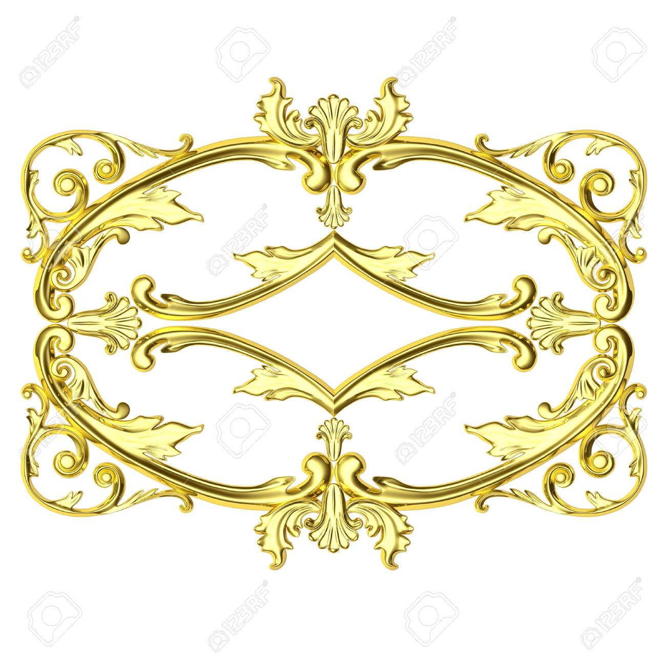 3d Gold Framework The Sculptural Form On A White Background Stock 1300x1300