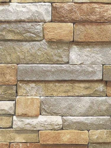 Wallpaper Faux Natural Cut Stone Gray Rock Wall Lodge Look Thick and ...