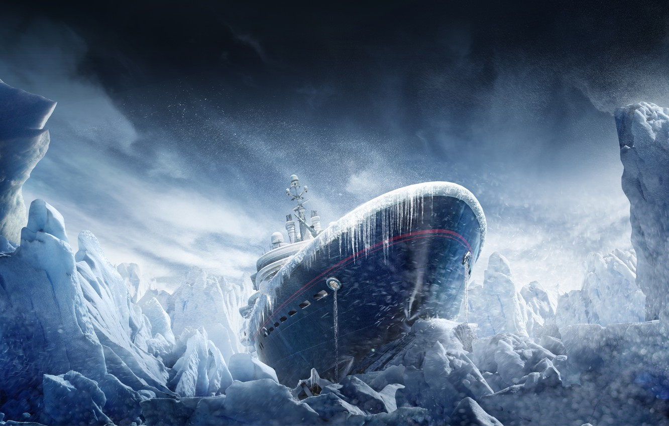 Wallpaper snow ship icicles ice Blizzard Tom Clancys 1332x850