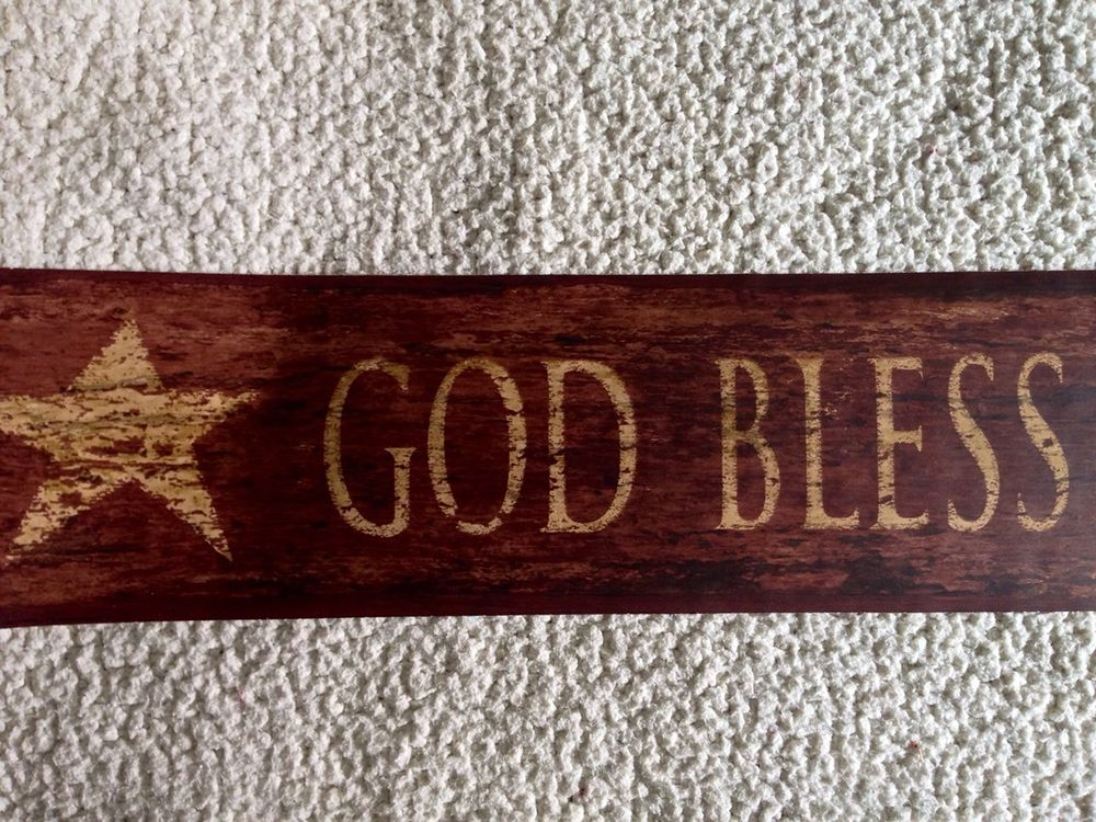 Primitive Country Wallpaper Border God Bless Our Home eBay 1000x750