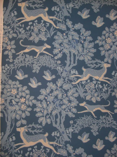 LEE JOFA Wallpaper   Mille Fleur Blue White Handprinted Animal Pa 375x500