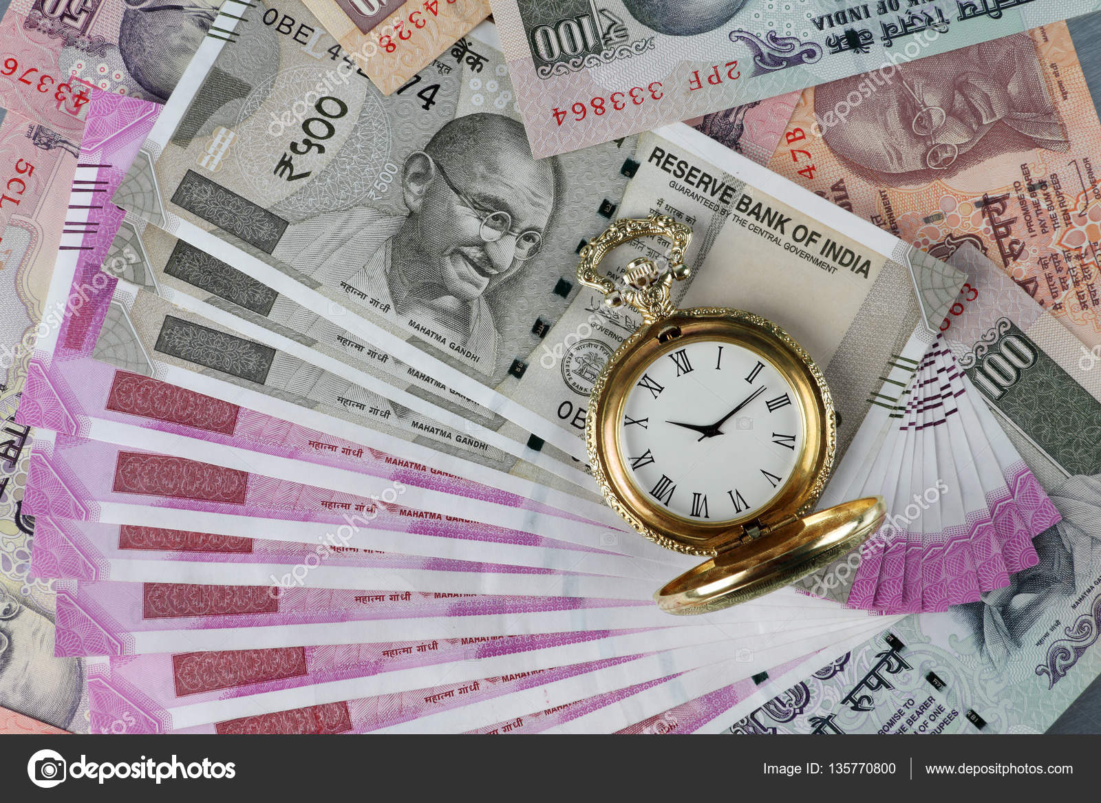 New Indian Rupees Currency With Antique Time Watch   Indian Money 1600x1167