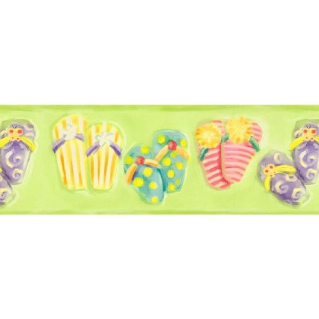 Kids Colorful Flip Flops on Lime Green Wallpaper Border   All 4 Walls 650x650