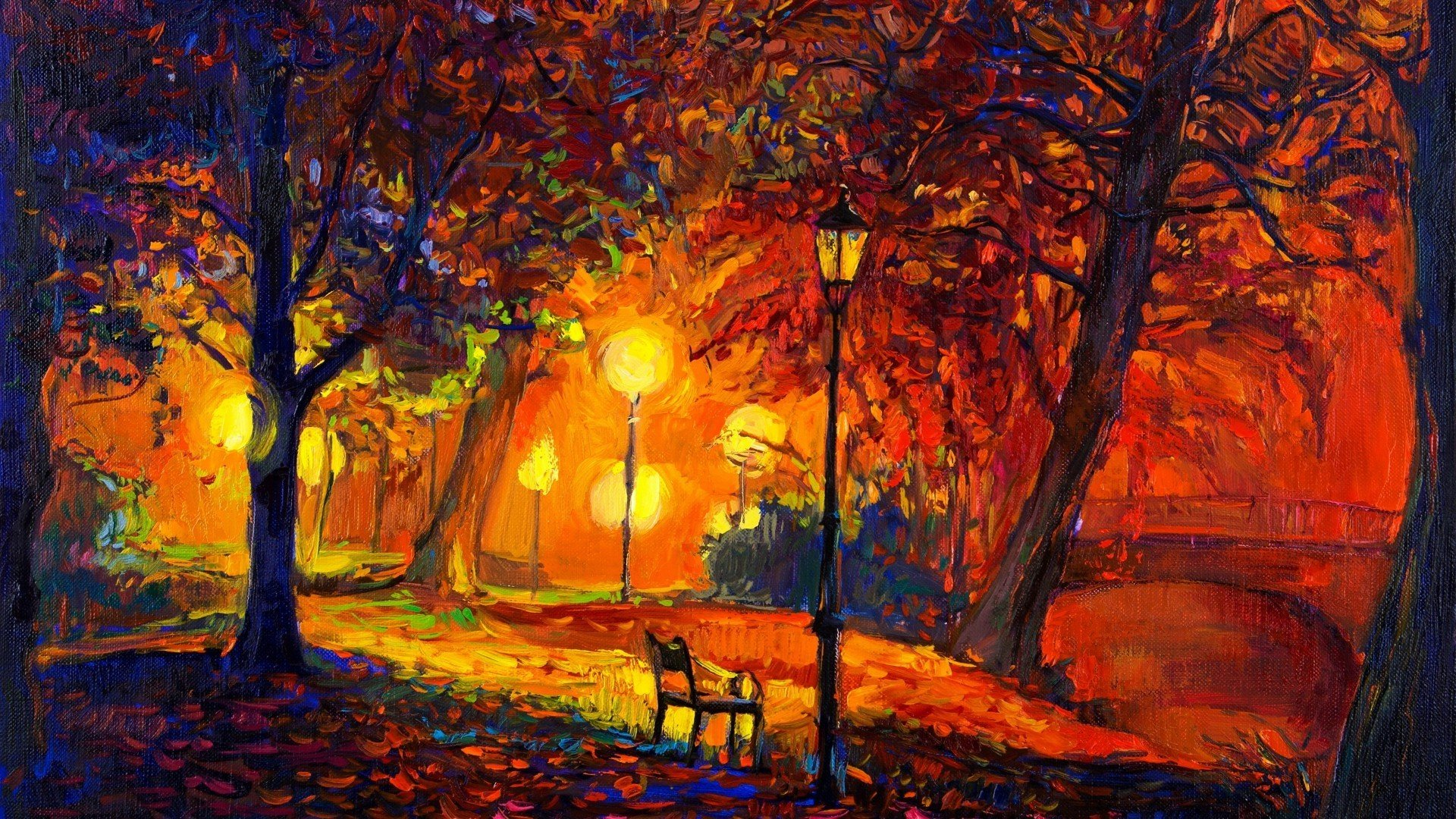 digital Art Nature Trees Painting Park Bench Lamps 1920x1080