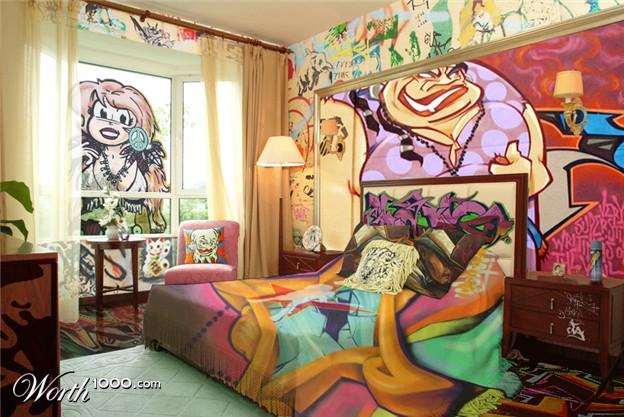 Graffiti Bedroom Decoration On The Wall 624x417