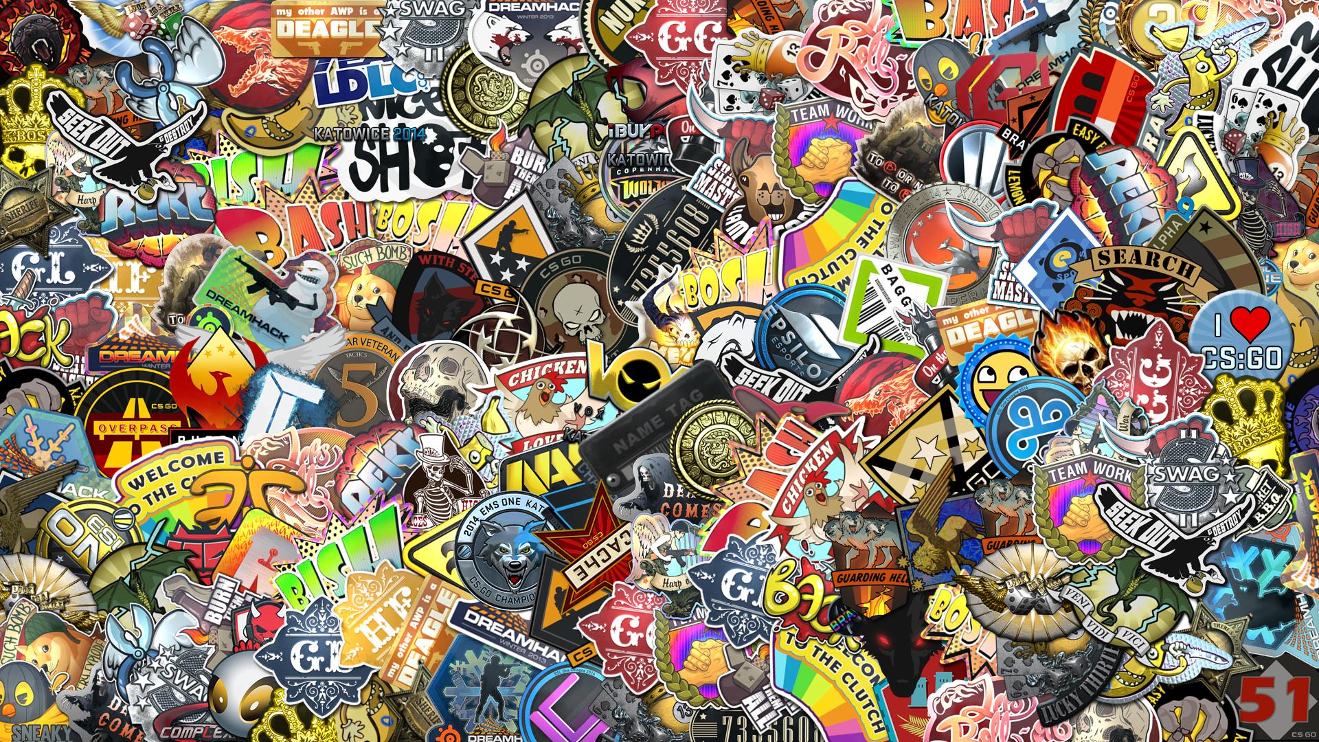 CSGO Sticker Bomb [19201080]wallpaper HD wallpaper HD 1920x1080