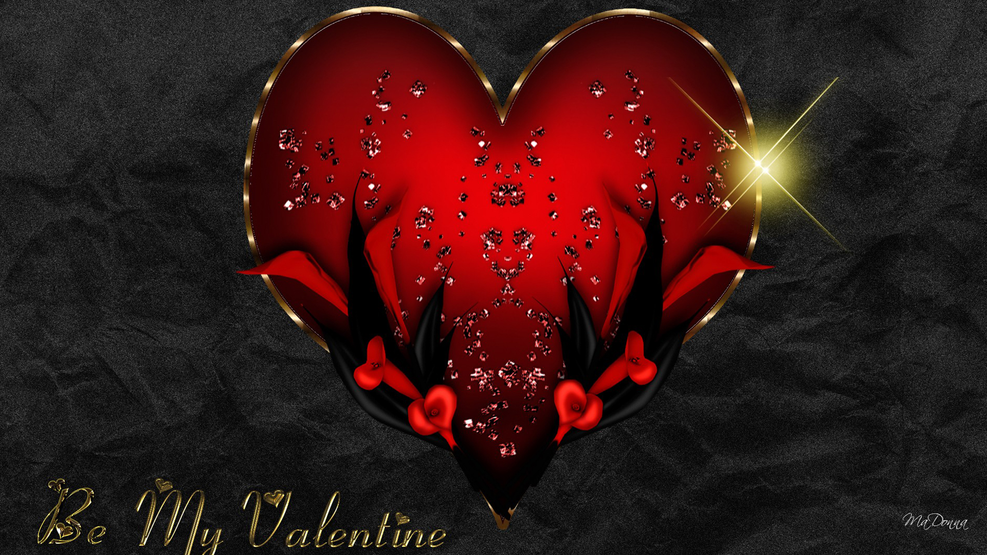 Red Heart On Black Silk Wallpaper ForWallpapercom 1920x1080