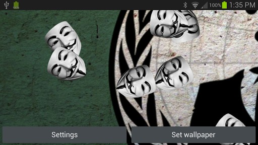 Anonymous Live Wallpaper App for Android 512x288