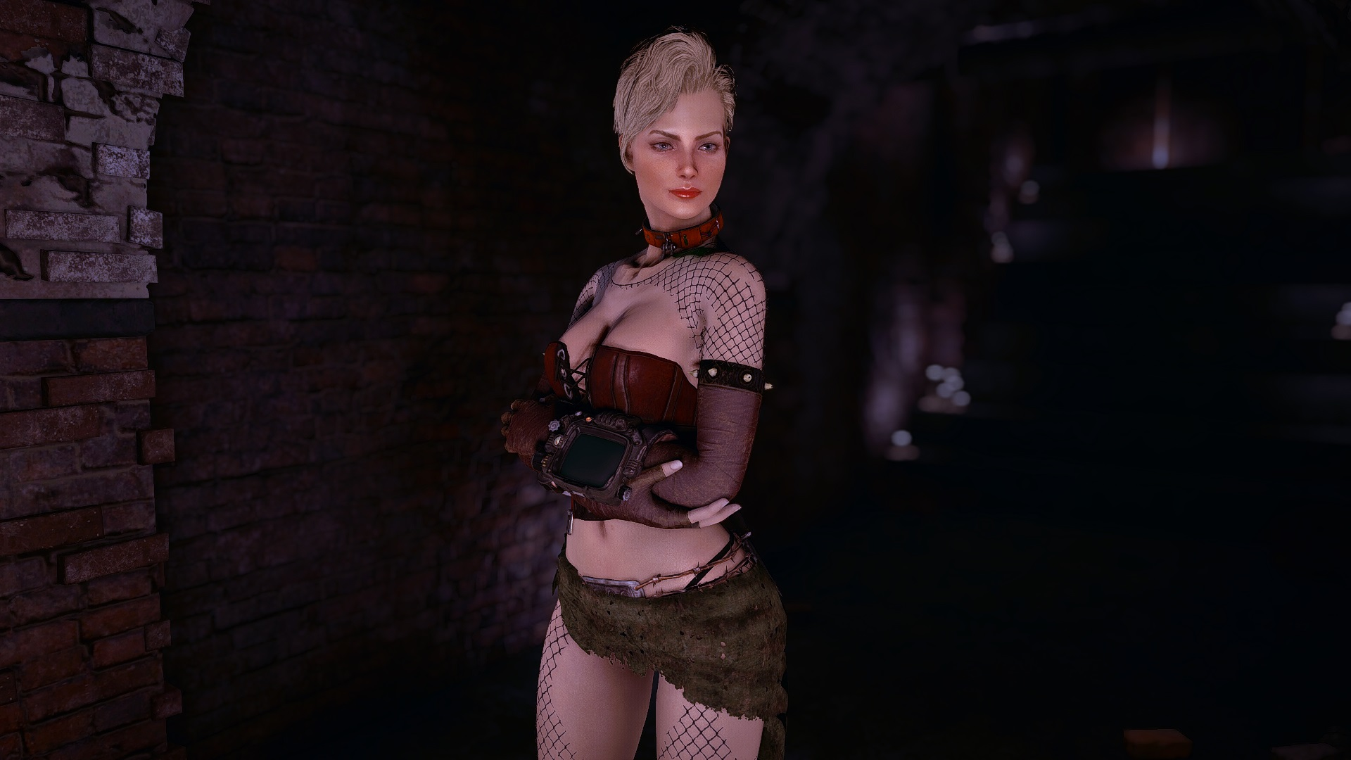 Margot in TheKites Combat Zone Stripper outfit at Fallout 4 Nexus 1920x1080